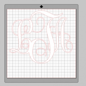 Vinyl Monogram Sticker Decal w/ Interlocking Letters 12x12 White