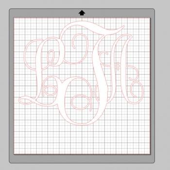 Vinyl Monogram Sticker Decal w/ Interlocking Letters 12x12 White