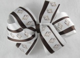 White and Chocolate Brown Horse Hair Bow