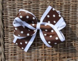 Chocolate Brown White Polka Dots Grosgrain Hair Bow