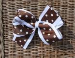 Chocolate Brown White Polka Dots Grosgrain Hair Bow