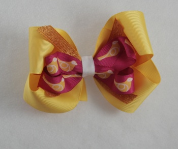 Yellow Hot Pink Bird Orange Shimmering Hair Bow