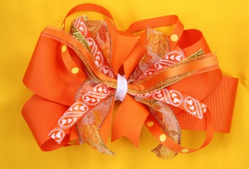 Orange Gold Yellow Leaf and Heart Hair Bow for Fall