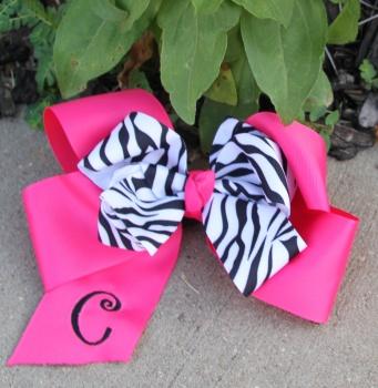 Zebra Print Bow on Hot Pink Grosgrain Hair Bow