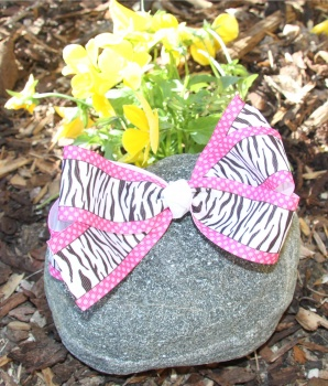 Zebra Print Pink Polka Dots Hair Bow