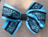 Turquoise and Black Zebra Print Hair Bow
